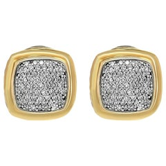 David Yurman 18 Karat Yellow Gold Silver Diamond Ear Clip Earrings
