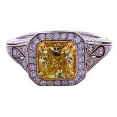 GIA Certified 2.01 Carat Cushion Cut Natural Fancy Intense Yellow 18K Gold Ring