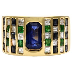 Solid 18 Karat Yellow Gold Genuine Sapphire, Diamond and Emerald Ring 12.4g