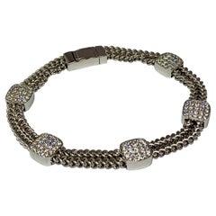 14 Karat White Gold 1.50 Carat Diamond Chain Station Bracelet