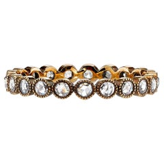 18k Gold Rose Cut Diamond Eternity Band