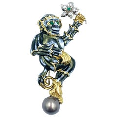 Aldo Cipullo for Cartier 18 Karat Enamel Pearl Monkey Brooch