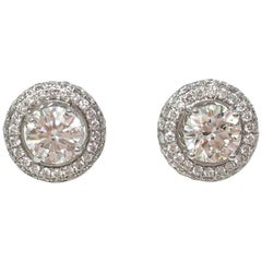 GIA Certified 2.01 Carat White Round Brilliant Diamond Stud Earrings