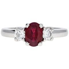 Modern 14 Karat White Gold .75 Carat Natural Ruby and Diamond Ring