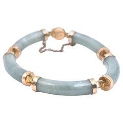 14 Karat Yellow Gold Jade Station Bracelet