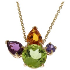 5.41 Carat Total Amethyst, Citrine, Peridot, Garnet Pendant Necklace In 14 K Y/G