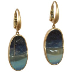 Dalben Australian Boulder Opal Yellow Gold Dangle Earrings