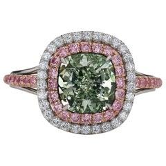 GIA Certified 2.44 Carat Cushion Cut Natural Fancy Green Diamond Platinum Ring