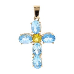5.80 Carat Total Swiss Blue Topaz and Citrine Cross Pendant in 14 Karat Gold
