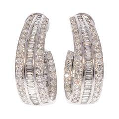 7.74 Carat Total Diamond J Hoop Earrings in 18 Karat White Gold