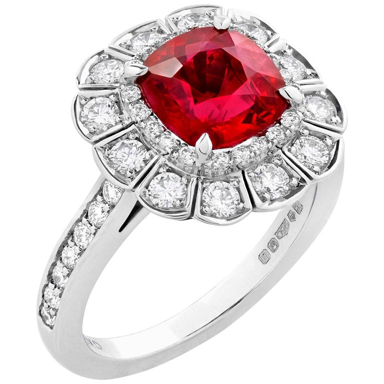 Garrard 3.04 Carat GRS Cushion Cut Vivid Red Ruby  Diamond Cocktail Ring
