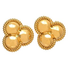 1980s Large Circle Italian 18 Karat Gold Clip on Earrings