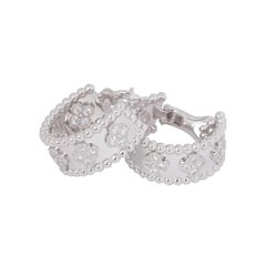 Van Cleef & Arpels Perlée Clovers Hoop 18 Karat White Gold, Diamond