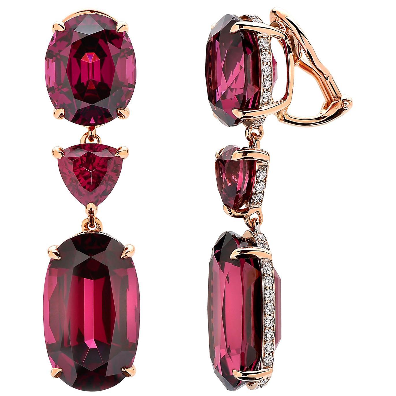 Paolo Costagli 18 Karat Rose Gold Rhodolite Garnet and Diamond Earrings