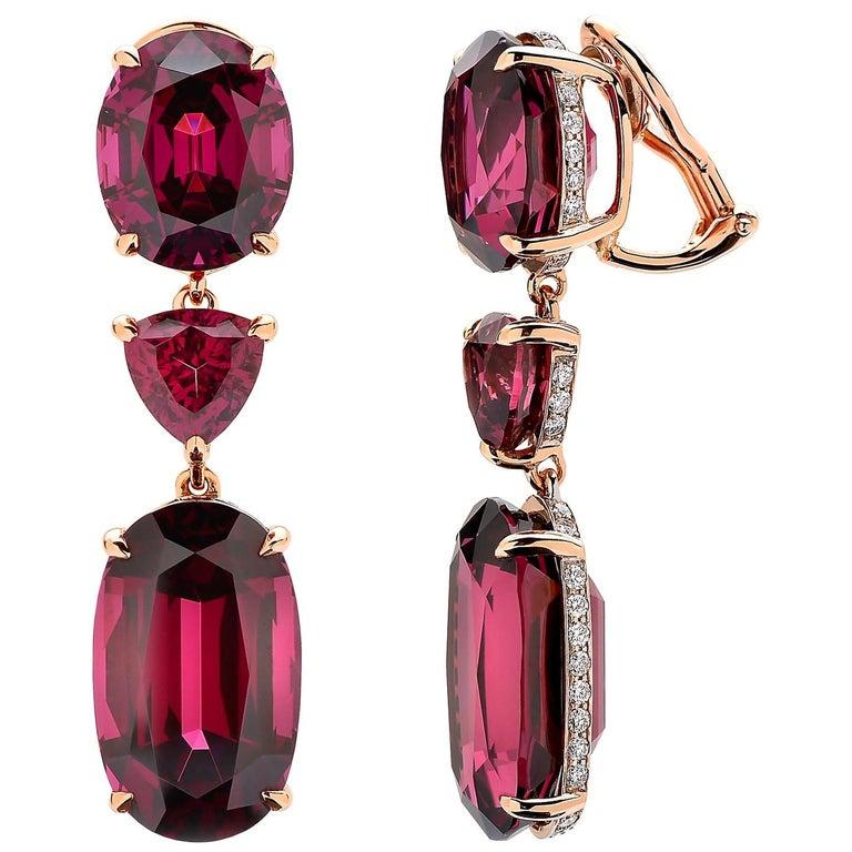 Paolo Costagli 18 Karat Rose Gold Rhodolite Garnet and Diamond Earrings For Sale