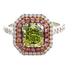 GIA Certified 2.07 Carat Radiant Cut Natural Fancy Green Yellow VS1 Diamond