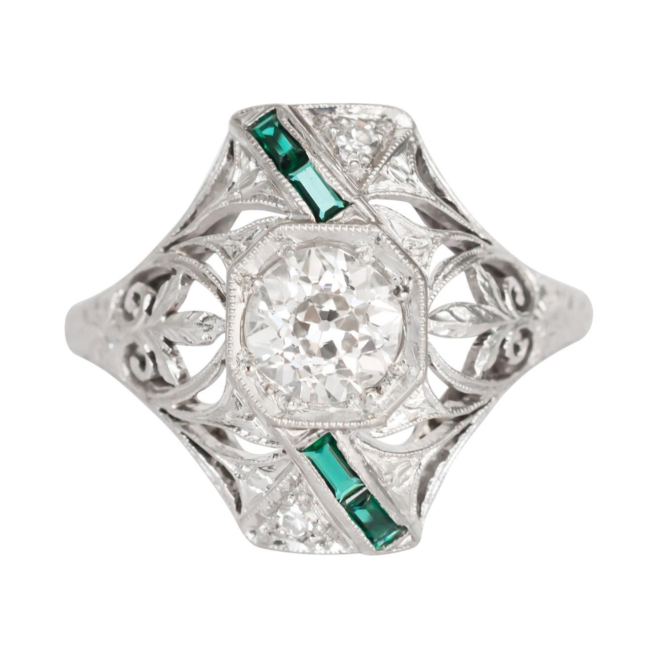 GIA Certified .90 Carat Diamond Platinum Engagement Ring