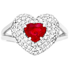 1.08 Carat Heart Ruby and Diamond Ring