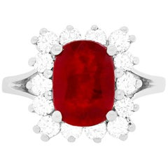 2.97 Carat Ruby and Diamond Ring