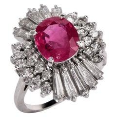 Pink Ruby Diamond Platinum Ballerina Cocktail Ring