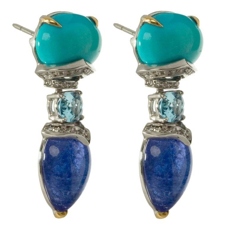 Turquoise, Tanzanite and Aquamarine with White Diamonds Drop Earrings For Sale