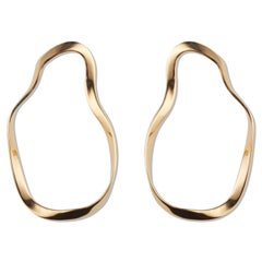 AGMES Unique Gold Vermeil Circular Organic Form Large Earrings