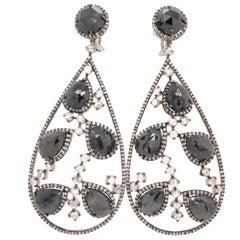 Black Diamond and Rose Cut White Diamond Chandelier Earrings