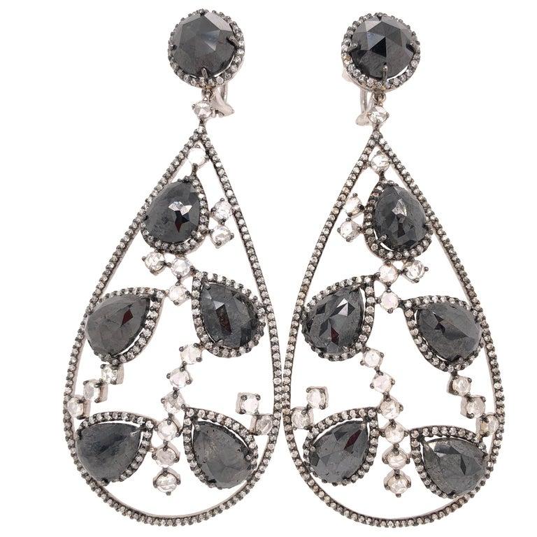 Black Diamond and Rose Cut White Diamond Chandelier Earrings For Sale