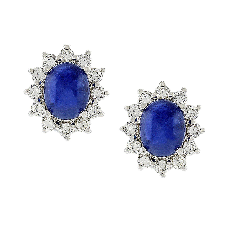 Blue Sapphire Cabochon Diamond Platinum Earrings