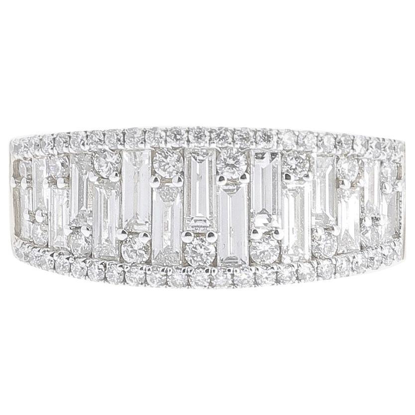 1.18 Carat GVS Round Baguette Diamond Cocktail Ring 18 Karat White Gold