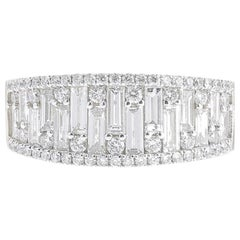 1.18 Carat GVS Round Baguette Diamond Cocktail Ring 18 Karat White Gold