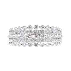 1.08 Carat GVS Round Baguette Diamond Cocktail Ring 18 Karat White Gold