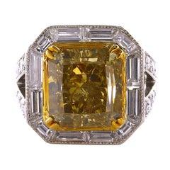 10.10 Carat Radiant Cut Natural Fancy Brownish-Greenish Yellow Diamond Ring
