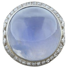 Art Deco Star Sapphire Diamond Platinum Ring