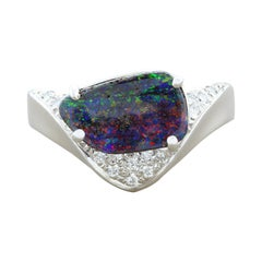 Boulder Opal Diamond Platinum Ring