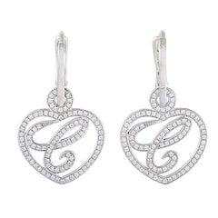 Chopard White Gold Issimo 18 Karat Diamond Pave Dangling Heart Earrings