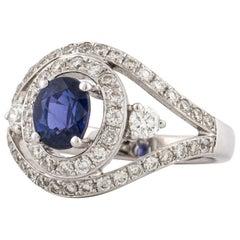 Purple Sapphire Diamond Ring in White Gold