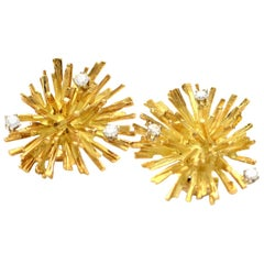 Solid 18 Karat Yellow Gold Starburst Genuine Diamond Earrings 15.7g