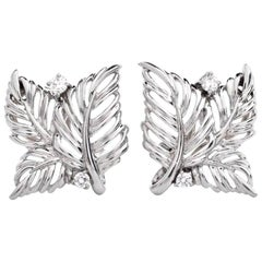 1980s Diamond Monstera Leaf Platinum Clip-On Stud Earrings
