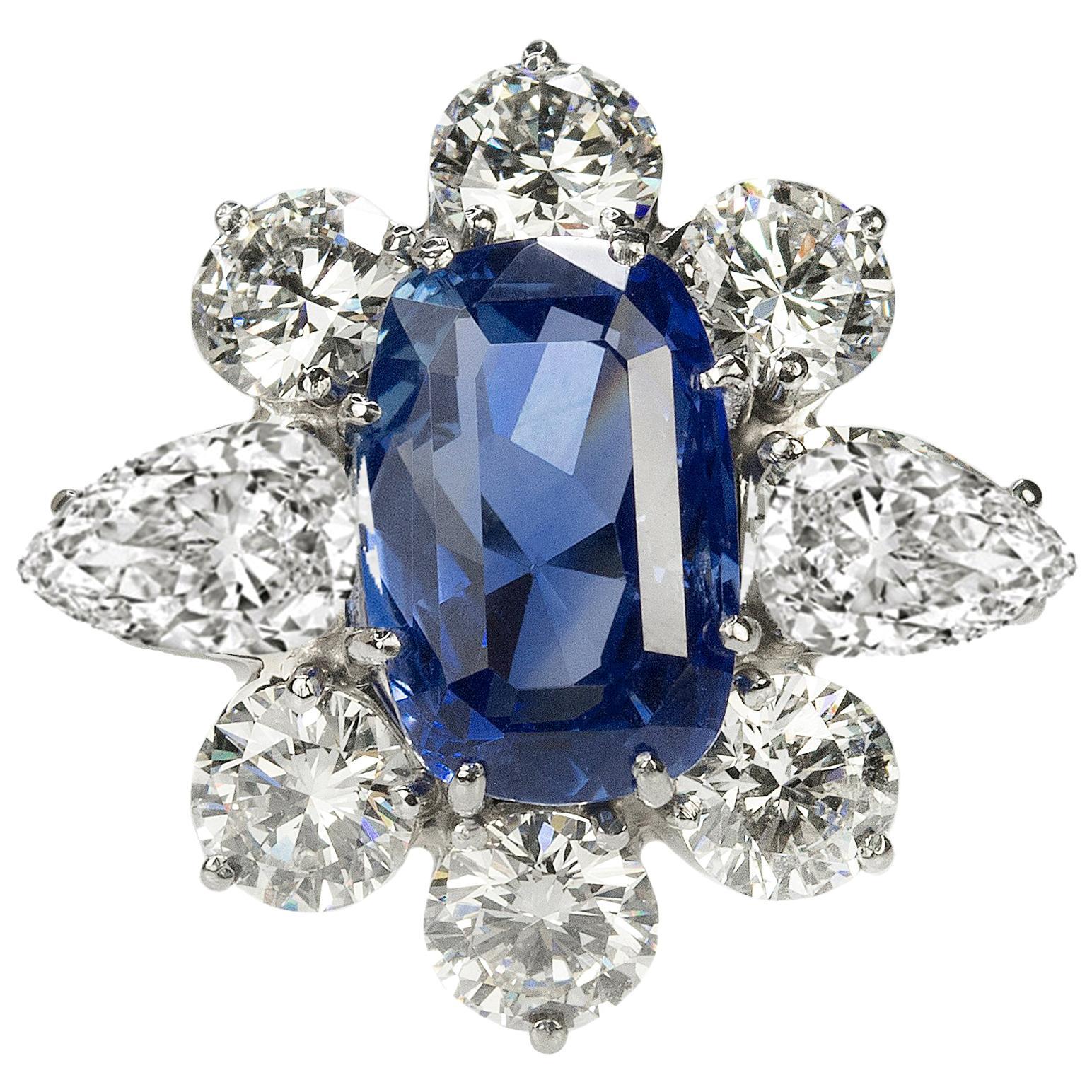 Platinum No Heat Sapphire Ring