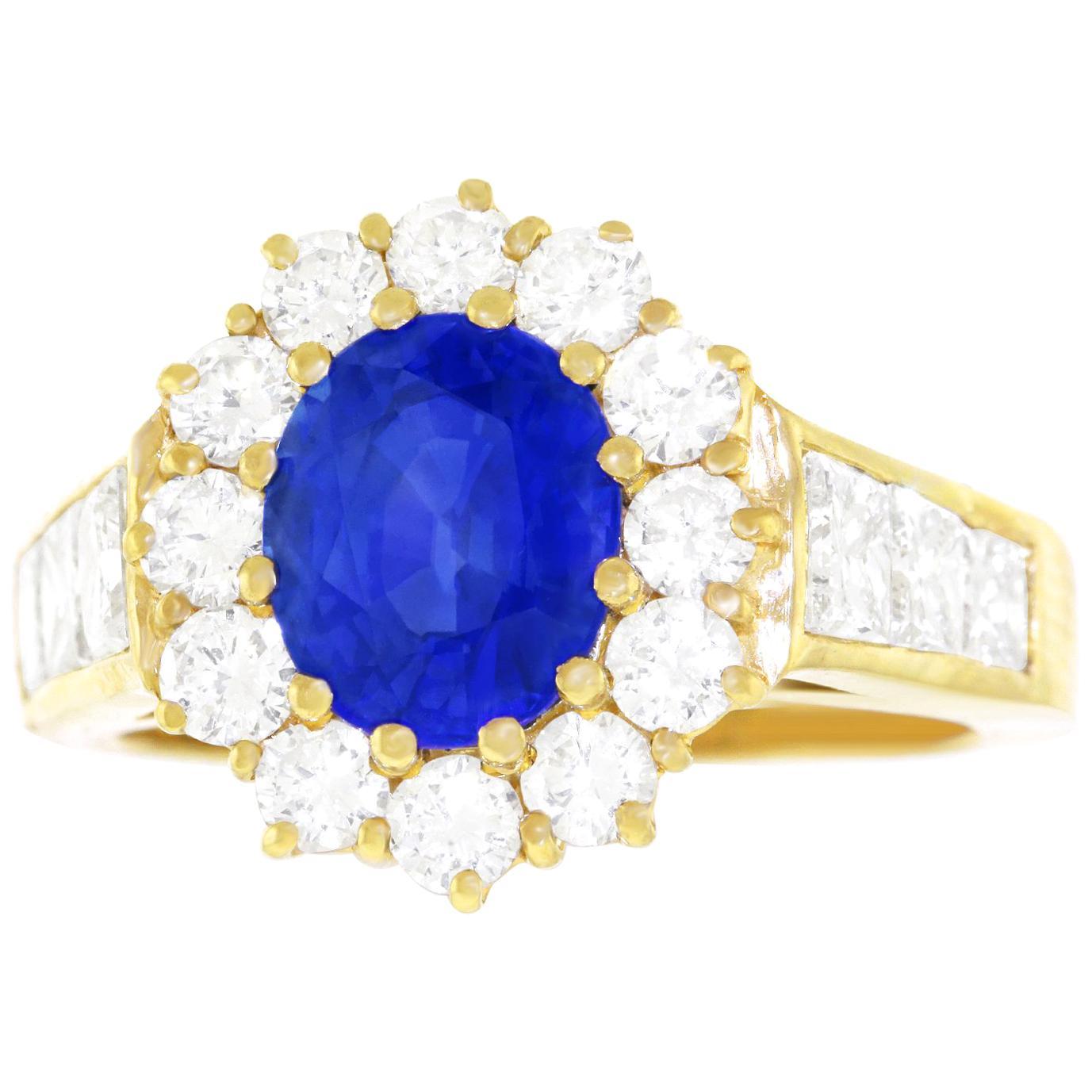 2.49 Carat No Heat Ceylon Sapphire and Diamond-set Ring