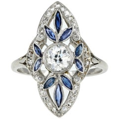 Rare Art Deco Platinum .5 Carat Old European Cut Diamond & Natural Sapphire Ring