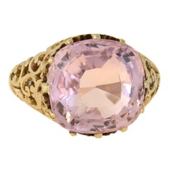 Victorian GIA Certified Natural Ceylon Pink Sapphire Ring 11.67 Carat