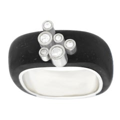Modernist Diamond Set Ebony and Gold Ring