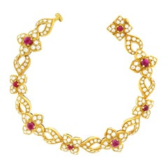 French Diamond and Ruby=-set Gold Bracelet