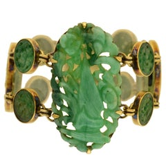 """Art Deco Onyx and Carved Jade """"Butterfly and Flower"""" Bracelet"""