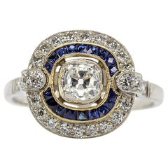 Gorgeous Platinum Diamonds and Sapphires Ring