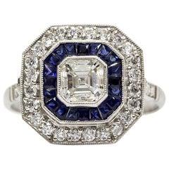 Platinum Diamonds and Sapphires Ring