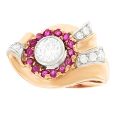 Retro Diamond and Ruby-set Gold Ring