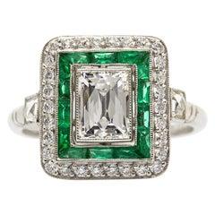 Exquisite Platinum GIA Certified Diamonds and Emeralds Ring